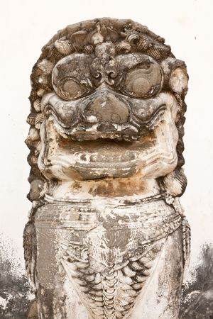 Sand stone lion in Chinese style art.
