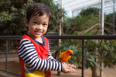 Little Asian boy play with bird in zoo