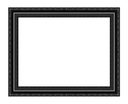 Photo pour Black picture frame carved wood frame Isolated on white background. - image libre de droit