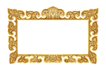 old decorative frame - handmade, engraved - isolated on white background