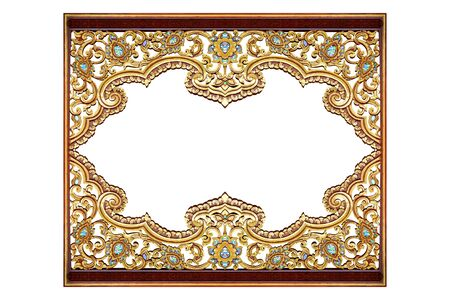 Photo pour Pattern of wood carve gold paint for decoration isolated on white background, gold flower carved on wood - image libre de droit