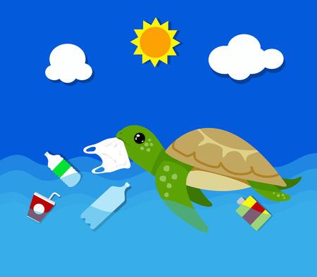 Illustration pour Plastic pollution in ocean environmental problem. Turtles can eat plastic bags mistaking them for jellyfish. vector illustration. - image libre de droit