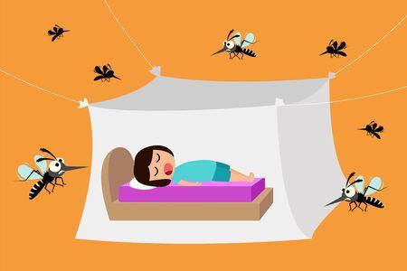Ilustración de Child sleeping under mosquito net, mosquito nets to protect from dengue fever, vector illustration - Imagen libre de derechos