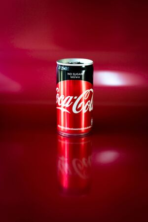 Bangkok, Thailand - 17 May, 2018: Mini Coca-Coly Zero can 180 ml. (no sugar) produced by The Coca-Cola Company of Thailand. It's popular soft drink soda sold in vending machines and general store.