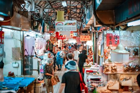 Taipei, TAIWAN - 3 Oct, 2017: Local Taiwanese people were walking around in the local market for shopping food and the other things. Taipei, Taiwan