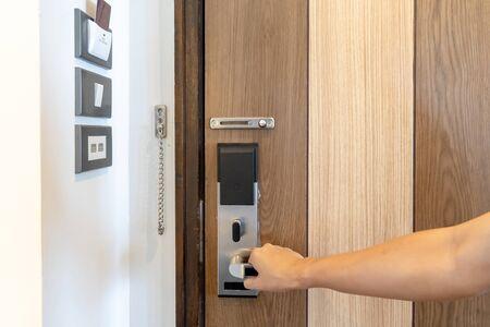 Photo pour Door security smart lock and room switcher control platform on the wall beside the door in Thailand resort. - image libre de droit