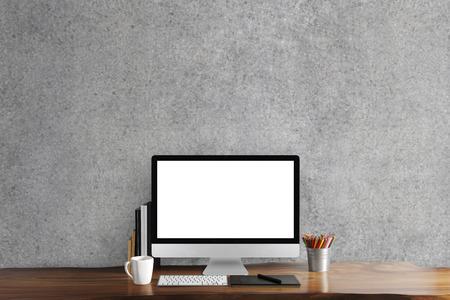 Foto de Black screen computer on table, workplace - Imagen libre de derechos
