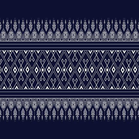 Illustration pour Geometric Ethnic pattern on dark blue ,White stripes and dark blue background. - image libre de droit