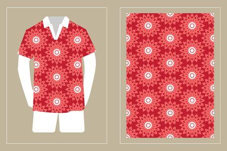 Illustration pour Illustration of T-Shirt Design Template with Geometric ethnic pattern traditional. - image libre de droit