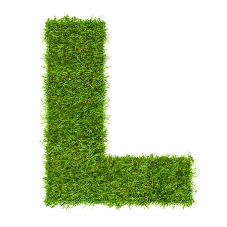 Letter L made of green grass isolated on white