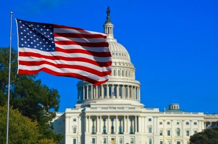 Washington DC, USA Flag and Capitol Building