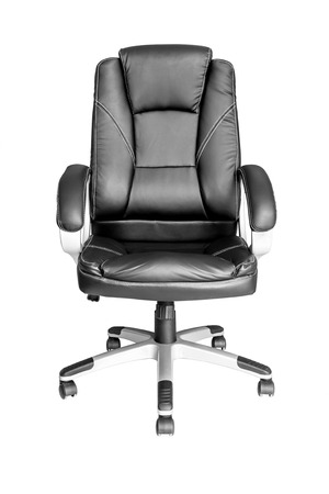 Black leather managers office swivel chair isolated on white background