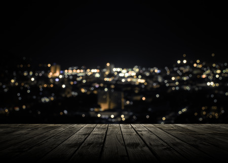 View from wooden plank above phuket town at night