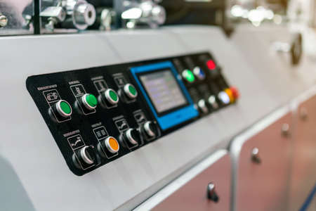 Photo pour Close up push button and display control panel of modern and high technology of automatic publication or printing machine - image libre de droit