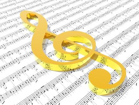 Photo pour treble clef on sheet of printed music  - image libre de droit