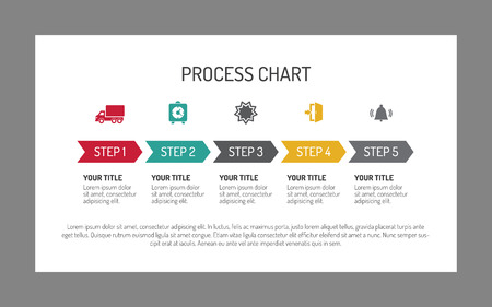 Illustration pour Editable infographic template of horizontal five step process chart with arrows and icons, white background - image libre de droit