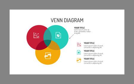 Illustration pour Editable template of three section Venn diagram, multicolored on white background, gray frame - image libre de droit