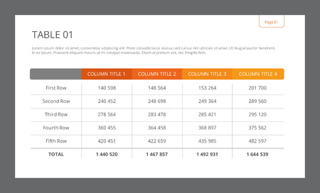 Illustration pour Editable template of table with four columns, five rows and total row - image libre de droit