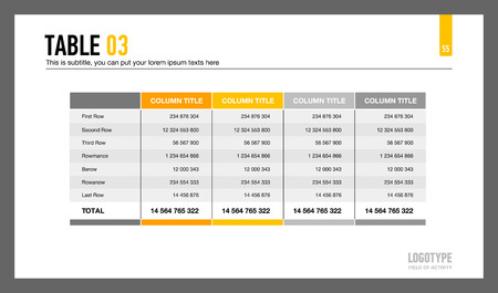 Editable template of presentation slide representing table with five columns