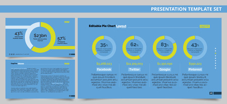 Editable presentation template set representing company market shares in form of pie charts and sample text arrangement page