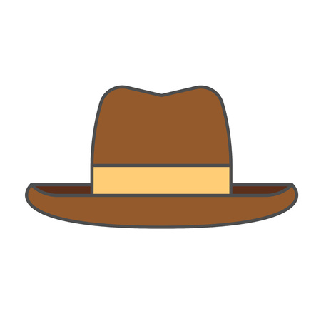 Illustration for Mans summer hat vector icon. Colored line icon of hat for men - Royalty Free Image