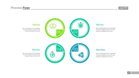 Illustration pour Four circles process chart slide template. Business data. Step, diagram, design. Creative concept for infographic, presentation. Can be used for topics like management, production, teamwork. - image libre de droit