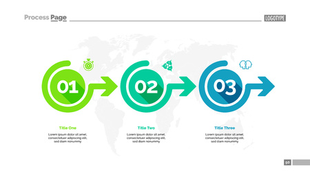 Illustration pour Three options process chart slide template. Business data. Workflow, point, design. For infographic, presentation, report. For topics like banking, strategy, logistics. - image libre de droit