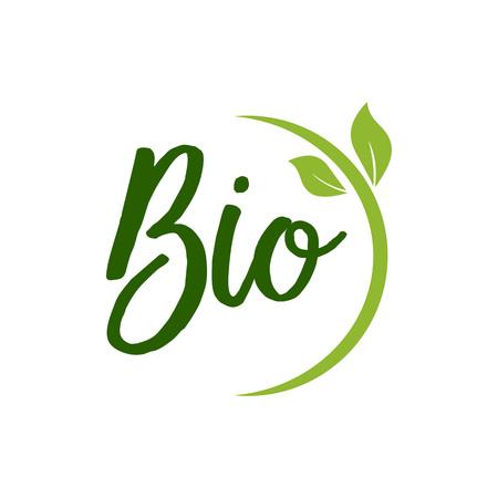 Illustration pour Bio Lettering with Green Leaves - image libre de droit