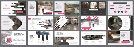 Illustration pour Pink, white and grey infographic elements for presentation - image libre de droit