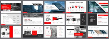Illustration pour Red, white and black infographic elements for presentation - image libre de droit