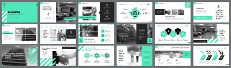 Ilustración de Green, white and black infographic design elements for presentation slide templates. Business and training concept can be used for annual report, advertising, flyer layout and banner design. - Imagen libre de derechos
