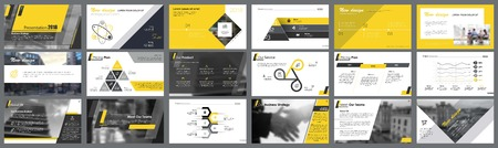 Ilustración de Yellow, white and black infographic design elements for presentation slide templates. Business and production concept can be used for financial report, workflow layout and brochure design. - Imagen libre de derechos