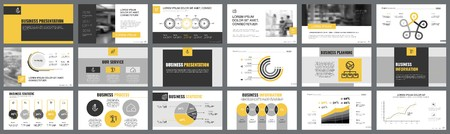 Ilustración de Orange, white and black infographic design elements for presentation slide templates. Business and project concept can be used for corporate report, advertising, leaflet layout and poster design. - Imagen libre de derechos