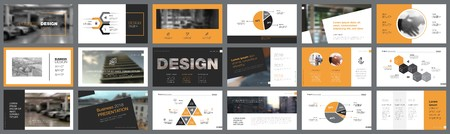 Ilustración de Orange, white and black infographic design elements for presentation slide templates. Business and startup concept can be used for corporate report, advertising, leaflet layout and poster design. - Imagen libre de derechos