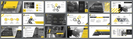 Ilustración de Yellow, white and black infographic design elements for presentation slide templates. Business and workflow concept can be used for corporate report, advertising, leaflet layout and poster design. - Imagen libre de derechos