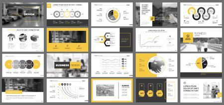 Illustration pour Yellow, white and black infographic design elements for presentation slide templates. Business and analytics concept can be used for financial report, advertising, workflow layout and brochure design. - image libre de droit