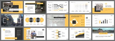 Ilustración de Yellow and black infographic design elements for presentation slide templates. Business concept can be used for advertising flyer and banner and web design - Imagen libre de derechos