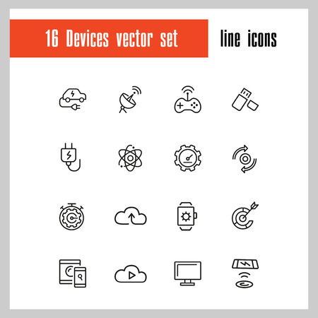 Devices icons. Set of line icons. Networking, cloud storage