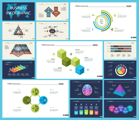 Illustration pour Set of strategy or planning concept infographic charts. Business design elements for presentation slide templates. For corporate report, advertising, banner, and brochure design - image libre de droit