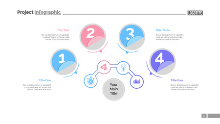Four circles process chart slide template. Business data. Structure, diagram, design. Concept for infographic, presentation, report. Can be used for topics like marketing, recruitment, analytics.