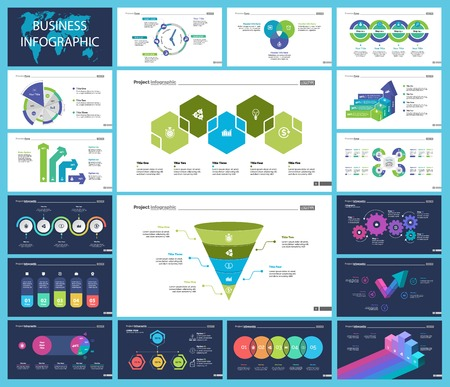 Illustration for Creative business presentation slide for management concept. Can be used for business project, annual report, web design. Pie chart, process chart, venn chart, bar graph, flowchart, comparison diagram - Royalty Free Image