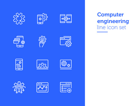 Computer engineering line icon set. Set of line icons. Technology concept. Computer, machine, progress. Vector illustration can be used for topics like technics, programming, computer