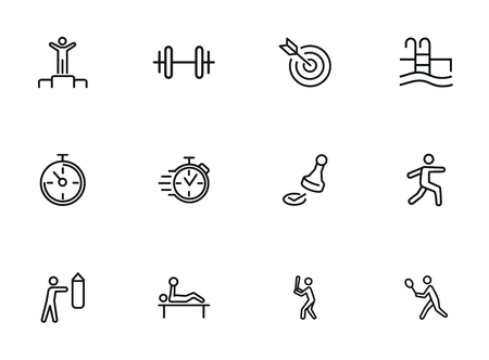 Illustration pour Sport and activity icons. Set of line icons on white background. Stop watch, sportsman. Active lifestyle concept. Vector illustration can be used for topics like competition, swimming, boxing - image libre de droit