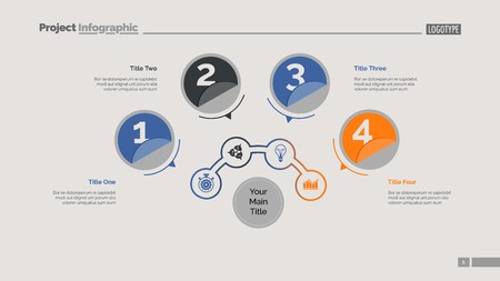 Four circles process chart slide template. Business data. Structure, diagram, design. Concept for infographic, presentation, report. Can be used for topics like marketing, recruitment, analytics