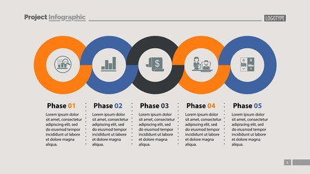 Illustration pour Sequence of five phases template. Business data. Graph, chart, design. Creative concept for infographic, report. Can be used for topics like marketing, economics, development - image libre de droit
