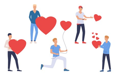 Illustration for Set of guys in love. Young men holding red heart and heart shaped air balloon. People concept. Vector illustration can be used for topics like dating or Valentines day - Royalty Free Image
