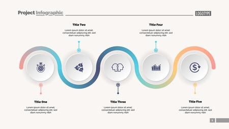 Illustration pour Five step process chart slide template. Business data. Progress, diagram, design. Creative concept for infographic, report, presentation. Can be used for topics like workflow, marketing, management - image libre de droit