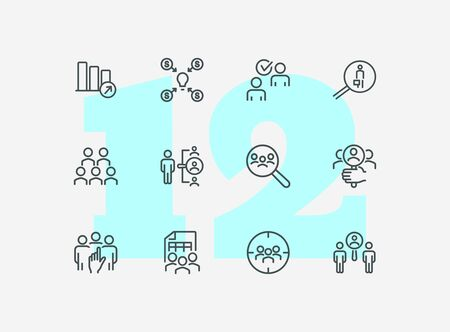 Company staff line icon set. People, team, search. Business concept. Can be used for topics like human resource, personnel, selection