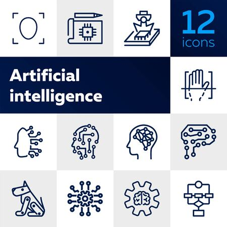 Artificial intelligence line icon set. Brain, gear, setting. Science concept. Vector illustration can be used for topics like shopping, wardrobe, winter