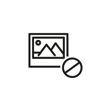 Ilustración de Denied art line icon. Censorship, no photo, no image available. Reject or cancel concept. Vector illustration can be used for topics like internet, computer, technology - Imagen libre de derechos